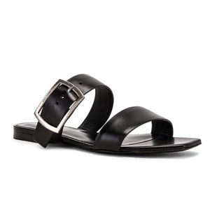 Saint Laurant Jodie Black Leather Flat Sandals